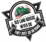 Koolart OLD LAND ROVERS NEVER DIE Slogan For Muddy Green Land Rover Defender 90 External Vinyl Car Sticker Decal Badge 100x100mm